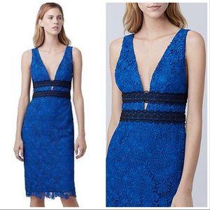 Diane Von Furstenberg Blue Lace Sheath Dress 0